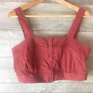 PacSun lace button up burgundy croptop